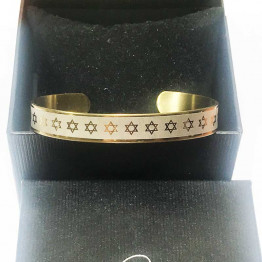 AHARONI Stunning S.Steel Fashion Bracelet. with Stars of David Decor ! Gold PVD Plating.(GSS013)