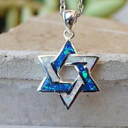 Star of David Blue white opal 925 silver necklace