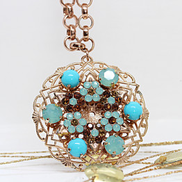 Rose Gold Star Of David Necklace, Around Pendant, Jewish Jewelry, Star Of David Jewelry, Turquoise And Brown Necklace,Judaica, Big Necklace
