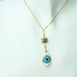 Evil Eye Necklace, Jewish Jewelry, Swarovski Pendant, Israeli Designer,Star Of David Charms,Gold Magen David For Women Jewelry,New Year Gift