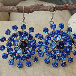 Evening crystal swarovski earrings, Bridesmaid gifts, Royal Blue earrings . Large Dangle earrings. Round earrings. Big flower earrings