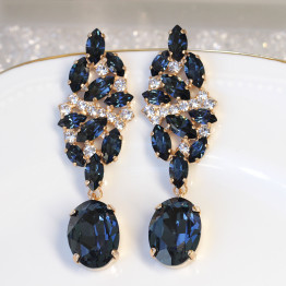 NAVY CHANDELIER EARRINGS, Bridal Blue Navy Earrings, Blue Cluster Formal Earrings, Swarovski Long Earrings, Dark Blue Drop Earrings, Xmas