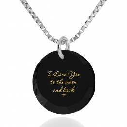 """I Love You To The Moon And Back"" 14k White Gold Necklace Cubic Zirconia132"