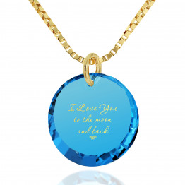 """I Love You To The Moon And Back"" 24k Gold Plated Necklace Cubic Zirconia,133"