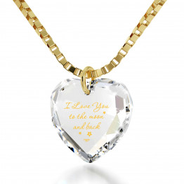 """I Love You To The Moon And Back"" 14k Gold Necklace Swarovski136"
