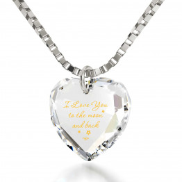"""I Love You To The Moon And Back""14k White Gold Necklace Swarovski137"