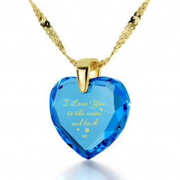 """I Love You To The Moon And Back"" 14k Gold Necklace Cubic Zirconia140"