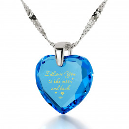 """I Love You To The Moon And Back"" 14k White Gold Necklace Cubic Zirconia141"