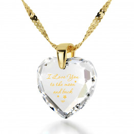 """I Love You To The Moon And Back"" 24k Gold Plated Necklace Cubic Zirconia142"