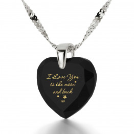 """I Love You To The Moon And Back"" 925 Sterling Silver Necklace Cubic Zirconia143"