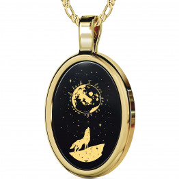 """I Love You To The Moon And Back"" 14k Gold Necklace Onyx 144"