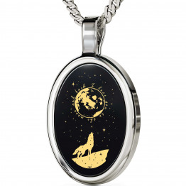 """I Love You To The Moon And Back"" 925 Sterling Silver Necklace Onyx 147"