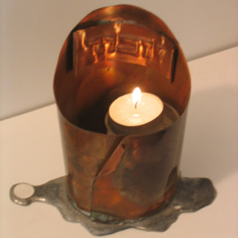 Memorial candle container, unique decorative hand crafted copper