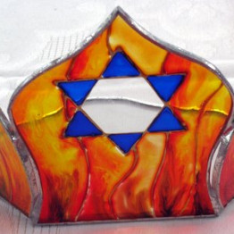 Memorial candle container Decorative colorful glass Star of David reflects flames thru the Magen David design.