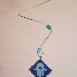 Unique mobile with exquisite blue fused glass Hamsa protective hand pendant