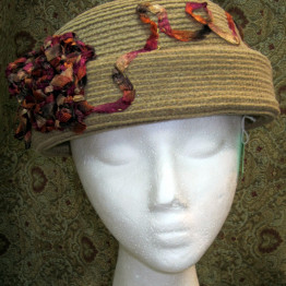 BOHO chic One of a kind Eclectic, elegant Felt Hat,Camel color, Passover/Church, Synagogue, head covering, Fashion Accessories