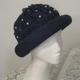 Elegant boho Navy black embellished pearls,straw HAT,Wearable Art,One of a kind, events, Holidays,Church, head covering, elegant, classy