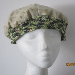 Mother's day BOHO chic Pistachio/creme brocade BERET, silk crochet HAT,One of a kind, Passover, Holidays, Church, Synagogue, head covering