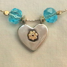 Heart blue and white, gold and silver, blue beads heart necklace, my heart is with Israel