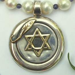 Star of David jewelry Blue and white womens necklace Kabbalah jewelry Judaica jewelry