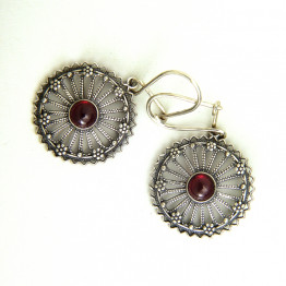Sterling Silver Earring set with Granite/ Precious stone