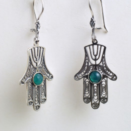 Sterling Silver Earring 925 filigree design with agate stone, design earring