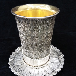 sterling silver kiddush cup and silver plate
