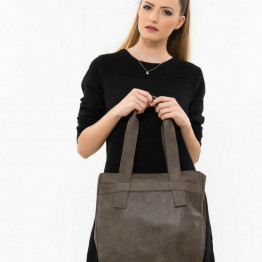 Dark Brown Leathher Tote Bag