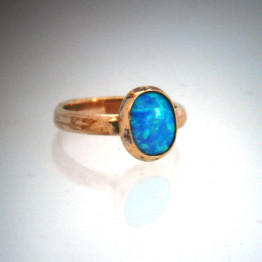Gold filled Ring, Blue turquoise Opal