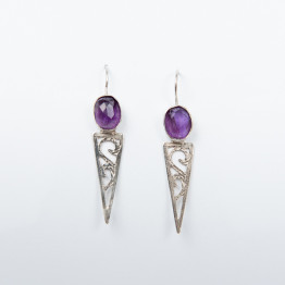 Earring Handmade Sterling Silver With Amethyst Stone