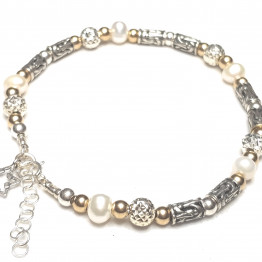 bracelet, pearls, goldfield and silver