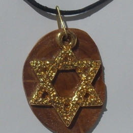 Star of David Mens Necklace- Israeli Olive Wood Jewelry