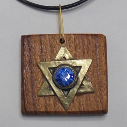 Star of David Necklace -Olive Wood Men/Women Judaica jewelry