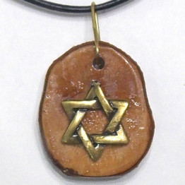 Star of David Mens Necklace- Olive Wood Jewelry