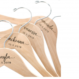 Personalized Name Wedding Hangers Custom Bride and Groom  Hangers Wood Engraved